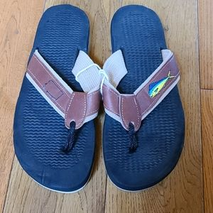 New Men's Flip Flops, Size 9, Embroidered Fish